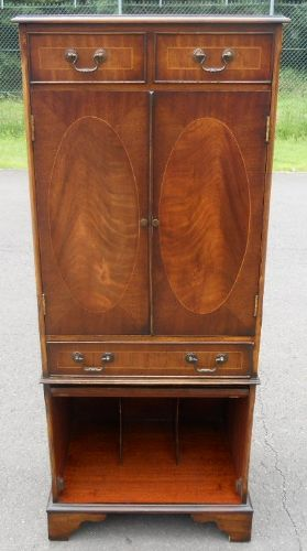 Tall Mahogany Narrow Storage Cabinet
